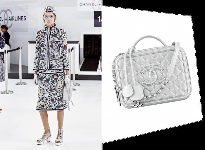 エアラインをテーマにした Chanel (シャネル) 2016年春夏コレクションでは、定番のバッグたちもシルバーでドレスアップ。バッグ ¥ 511,000 | © Chanel