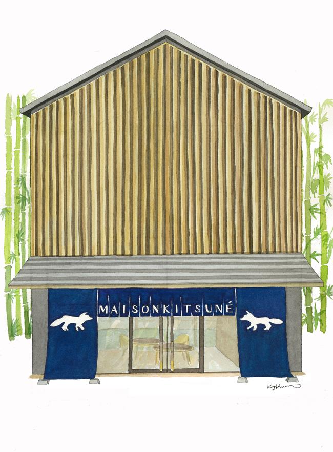 昨年8月に惜しまれながらリニューアル改装が発表されたホテルオークラへのオマージュとしてデザインされたsデザインされた新店舗 | © MAISON KITSUNÉ