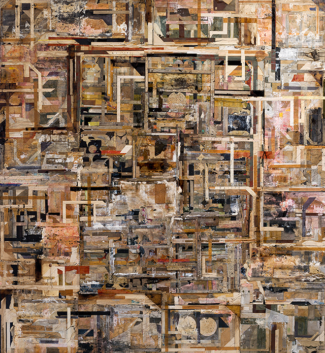 Time Memory / Nairobi, 2014 – 2016, Oil, ink, pencil, ballpoint pen, acrylic urethane resin, tar, red iron oxide, glue, packing tape, cellophane tape, cotton yarn, cheesecloth, printed matter, tissue paper, packing paper, wrapping paper, wallpaper, oil paper, Japanese paper, silver paper, paper and cardboard on wooden panel, 176 x 158.8 x 4.5 cm © Shinro Ohtake, Courtesy of Take Ninagawa, Tokyo, Photo by Kei Okano