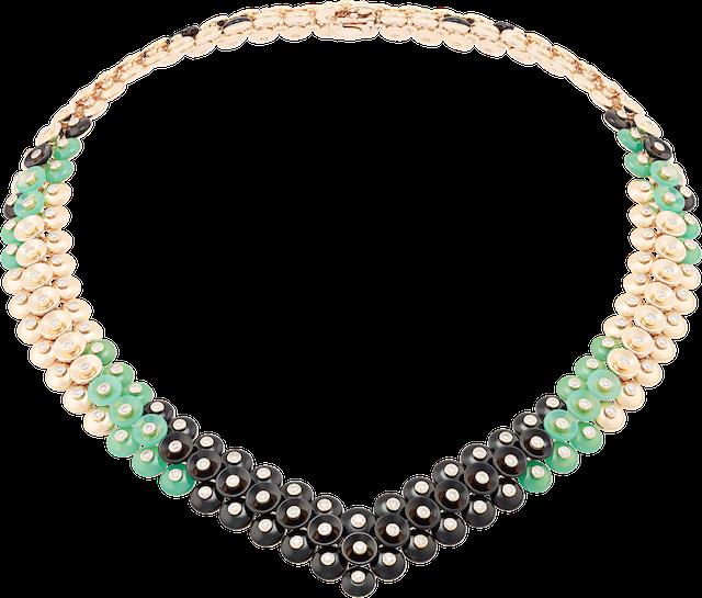 「ブトン ドール」ネックレス (YG、ダイヤモンド、オニキス、クリソプレーズ) ¥ 12,200,000