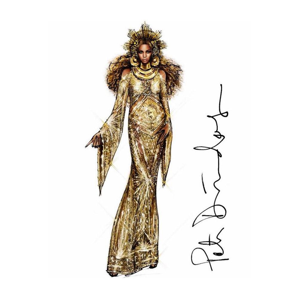 美しい妊婦姿を披露した Beyoncé (ビヨンセ)。インドの神話に登場する女神のような衣装はインドネシアの Malakai Hom (マラカイ・ホム) が手がけている。| Image via Malakai Hom Facebook page