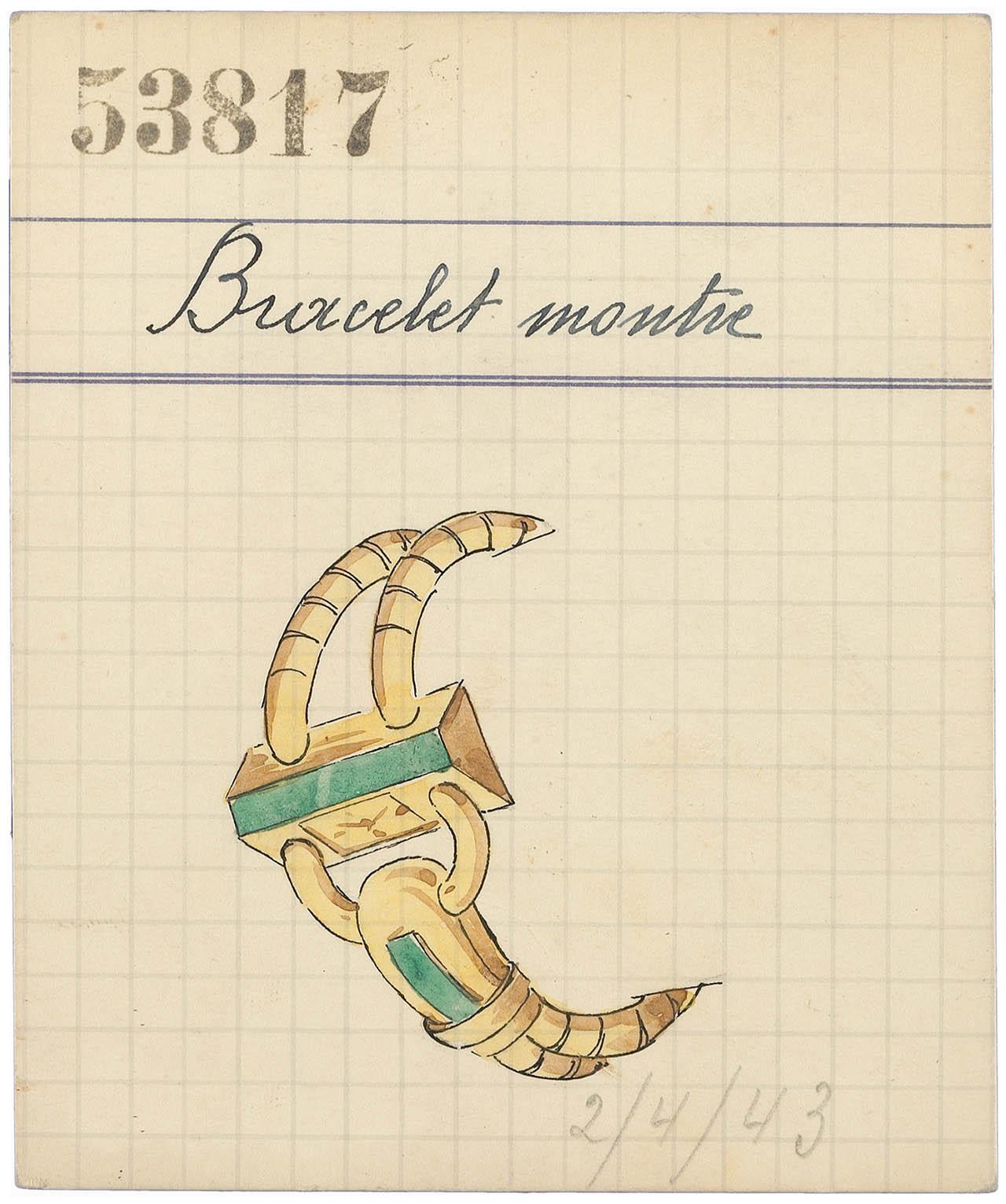1943年に販売されたイエローゴールドとエメラルドを用いた「Cadenas」ウォッチのリテールカード   © Van Cleef & Arpels
