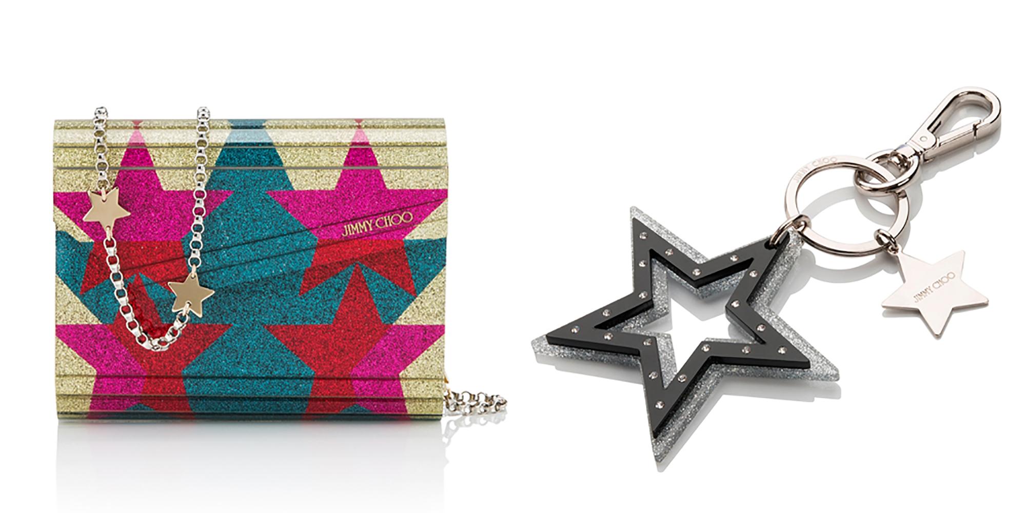 左:バッグ「CANDY」¥126,000、右: キーリング「SKYLA」¥25,000 (いずれもJimmy Choo 銀座店限定商品) | ©︎ Jimmy Choo