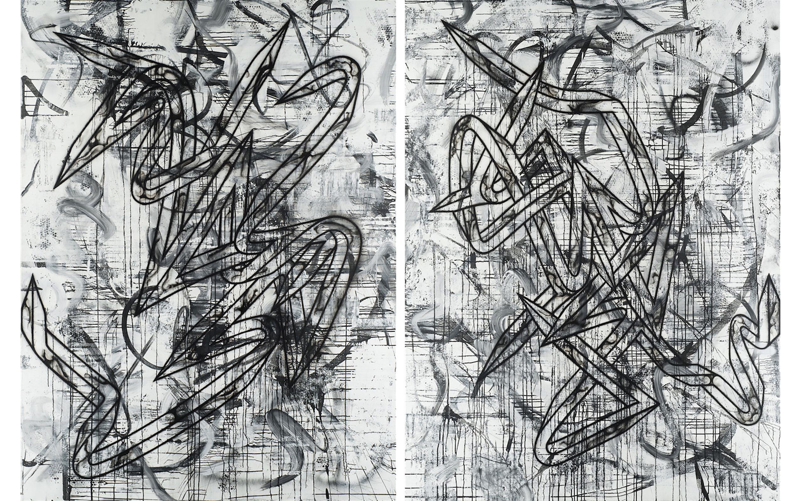 Enrico Isamu Ōyama, FFIGURATI #162, FFIGURATI #163, 2017, Airbrush, acrylic aerosol paint, sumi ink and latex paint on canvas mounted on aluminum stretcher, (H)2.44m x (W)1.83m (each), Artwork © Enrico Isamu Ōyama, Photo © Atelier Mole