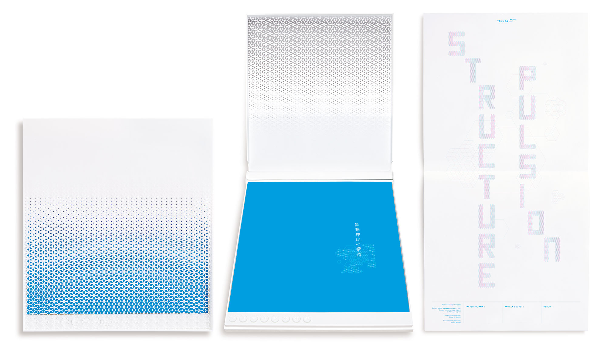 Takashi Homma ホンマタカシ (photos), Patrick Bouvet (text), Nendo (case), Structure Pulsion, 2009 (38 x 34 x 3,5 cm)