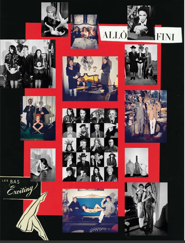 """80年代のパリ、ナイトシーンの思い出を詰め込んだスクラップボード。ジェリー・ホールや、ファリーダ・ケルファなどパリのファッション業界における """"フーズ・フー"""" の顔が並ぶ。"""
