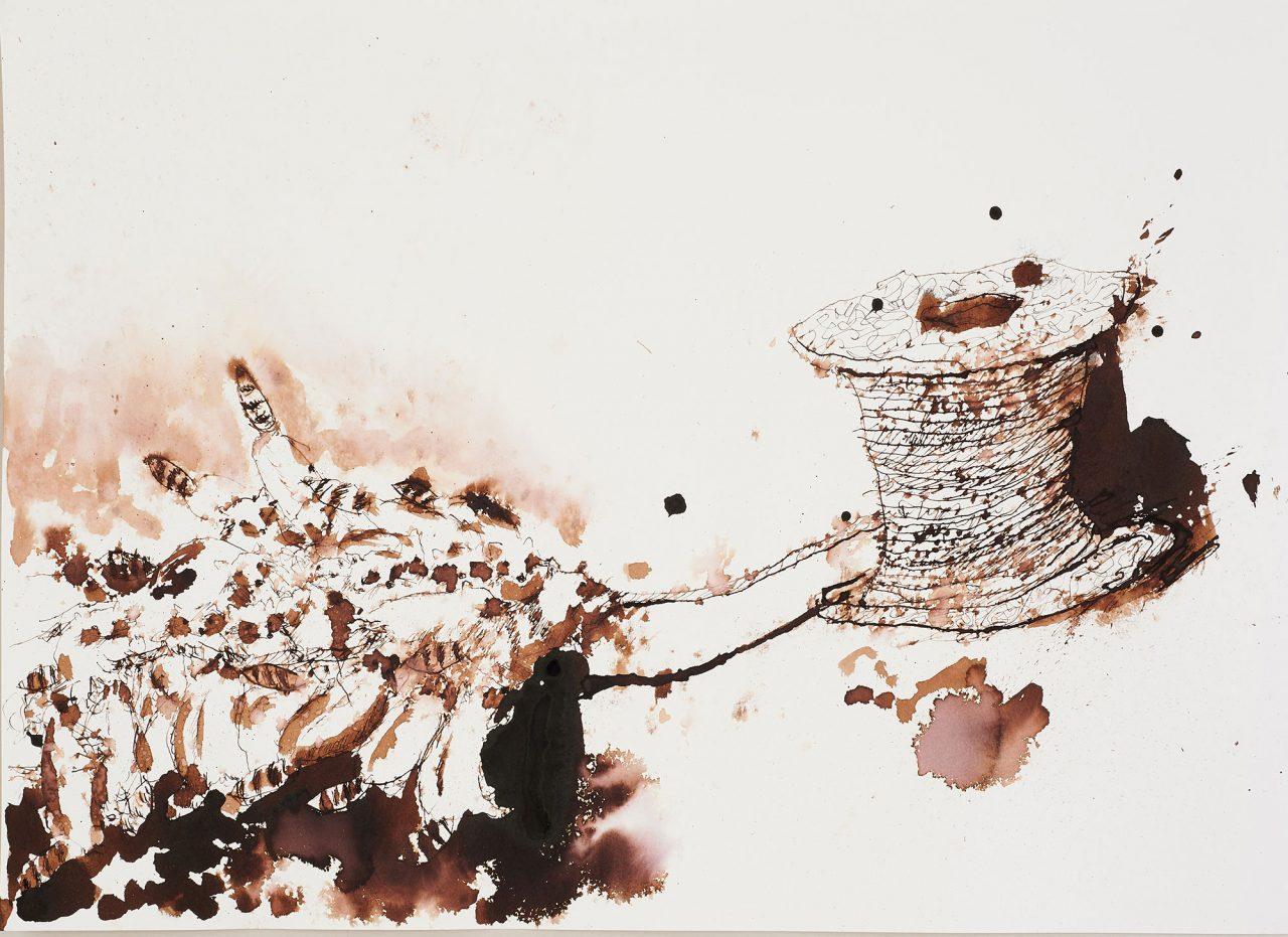 《Tug of War 狸の綱引き》本展出品インスタレーション用スケッチ (参考図版) 2019年 作家蔵