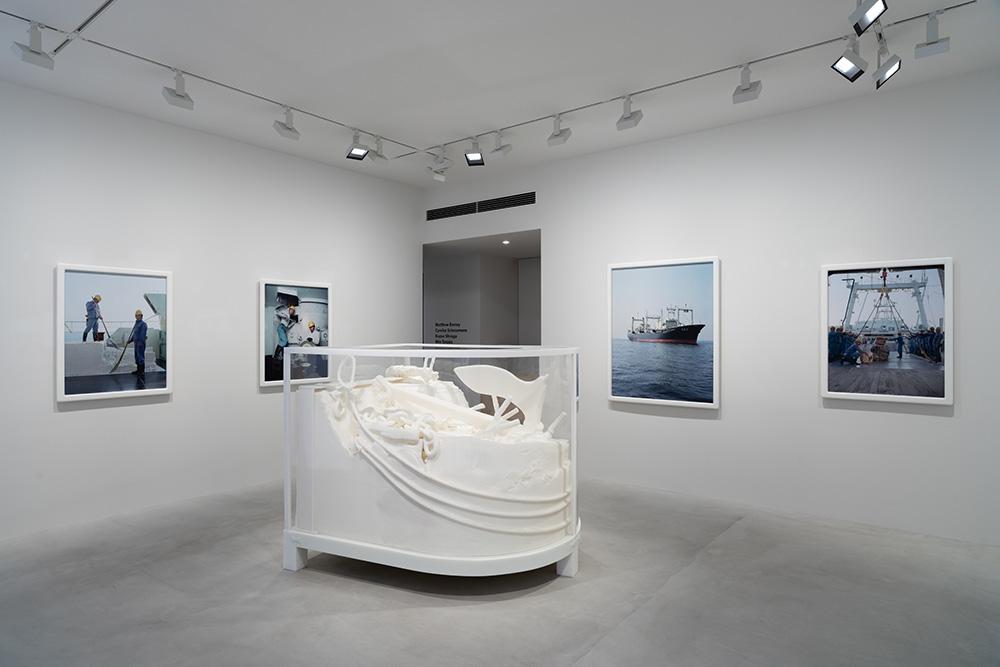 Installation view of Matthew Barney, Carolee Schneemann, Kazuo Shiraga, Min Tanaka at Fergus McCaffrey Tokyo, October 2020. All Artworks © Artists; Photo by Ryuichi Maruo