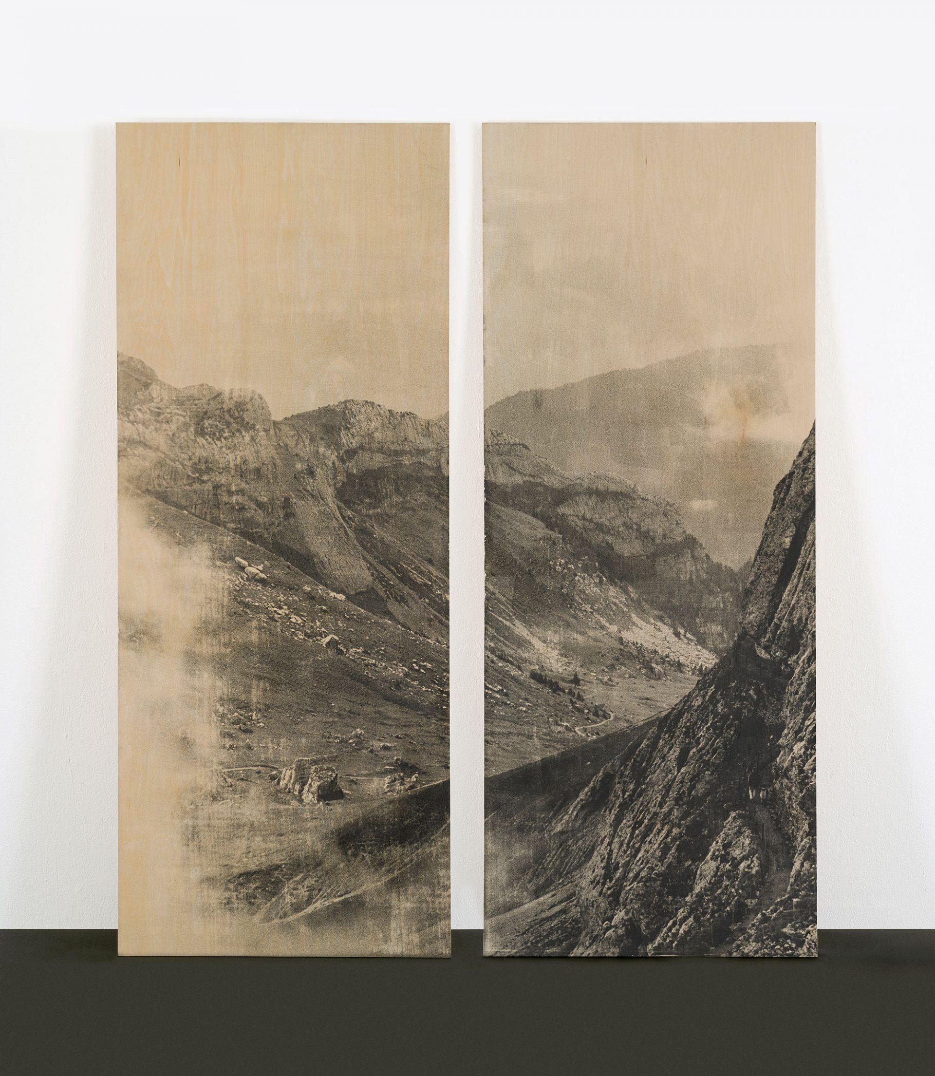 「山、ルツェルン、スイス」 2007年  写真乳剤、板、  各135 x 54 cm   ©︎Yurie Nagashima / MAHO KUBOTA GALLERY